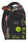 Flexi рулетка M (до 25 кг) 5 м лента черный/розовый pack
