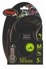 Flexi рулетка M (до 25 кг) 5 м лента черный/серебро pack