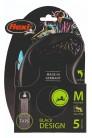 Flexi рулетка M (до 25 кг) 5 м лента черный/синий pack