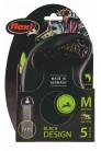 Flexi рулетка M (до 25 кг) 5 м лента черный/зеленый pack
