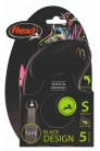 Flexi рулетка S (до 15 кг) 5 м лента черный/розовый pack