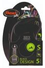 Flexi рулетка S (до 15 кг) 5 м лента черный/серебро pack