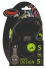 Flexi рулетка S (до 15 кг) 5 м лента черный/зеленый pack