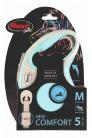 Flexi рулетка M (до 25 кг) лента 5 м серый/голубой pack